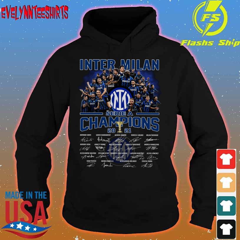 Inter Milan serie a champions 2021 signatures hoodie