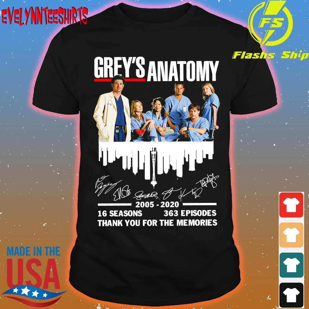 Grey's Anatomy 2025 2020 16 seasons 363 episodes thank You for the memories signatures Shirt
