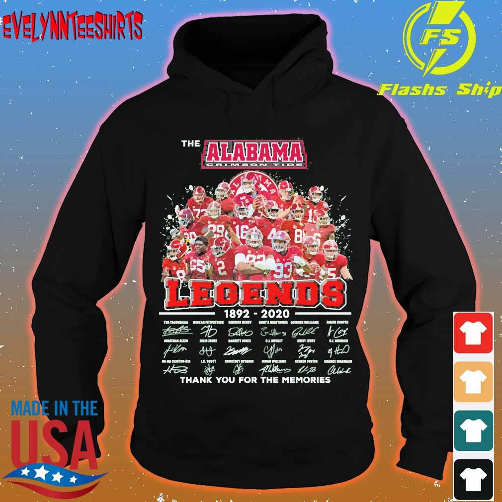 The Alabama Crimson Tide legends 1892 2020 thank You for the memories signatures Shirt hoodie