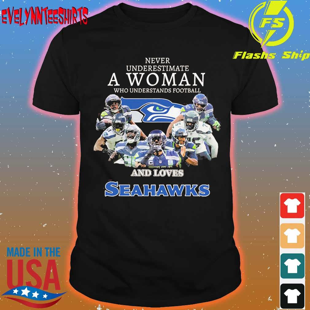 Never underestimate a woman who understands football and loves Seahawks shirt