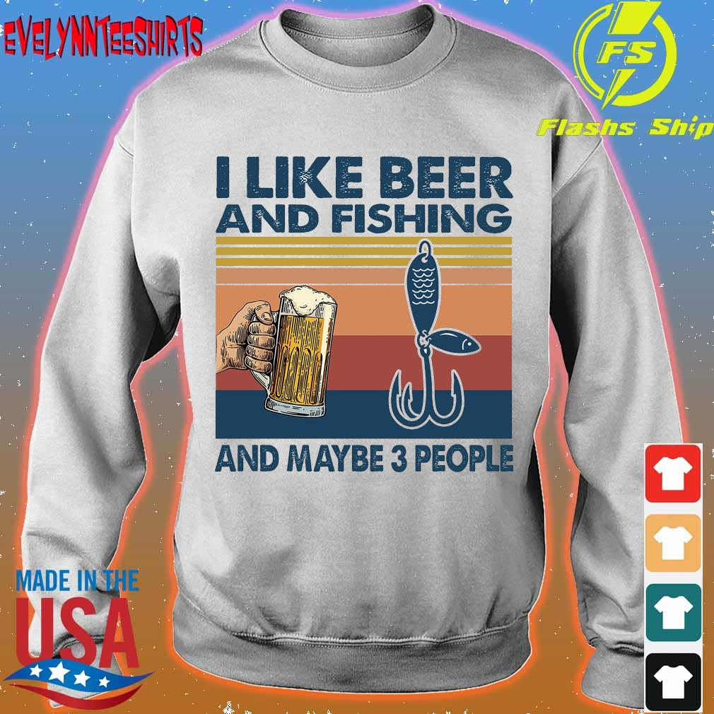 I like beer and fishing and maybe 3 people vintage s sweater