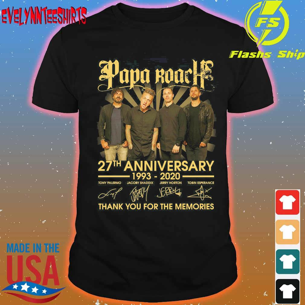Papa Roach 27th anniversary 1993 2020 thank You for the memories signatures shirt