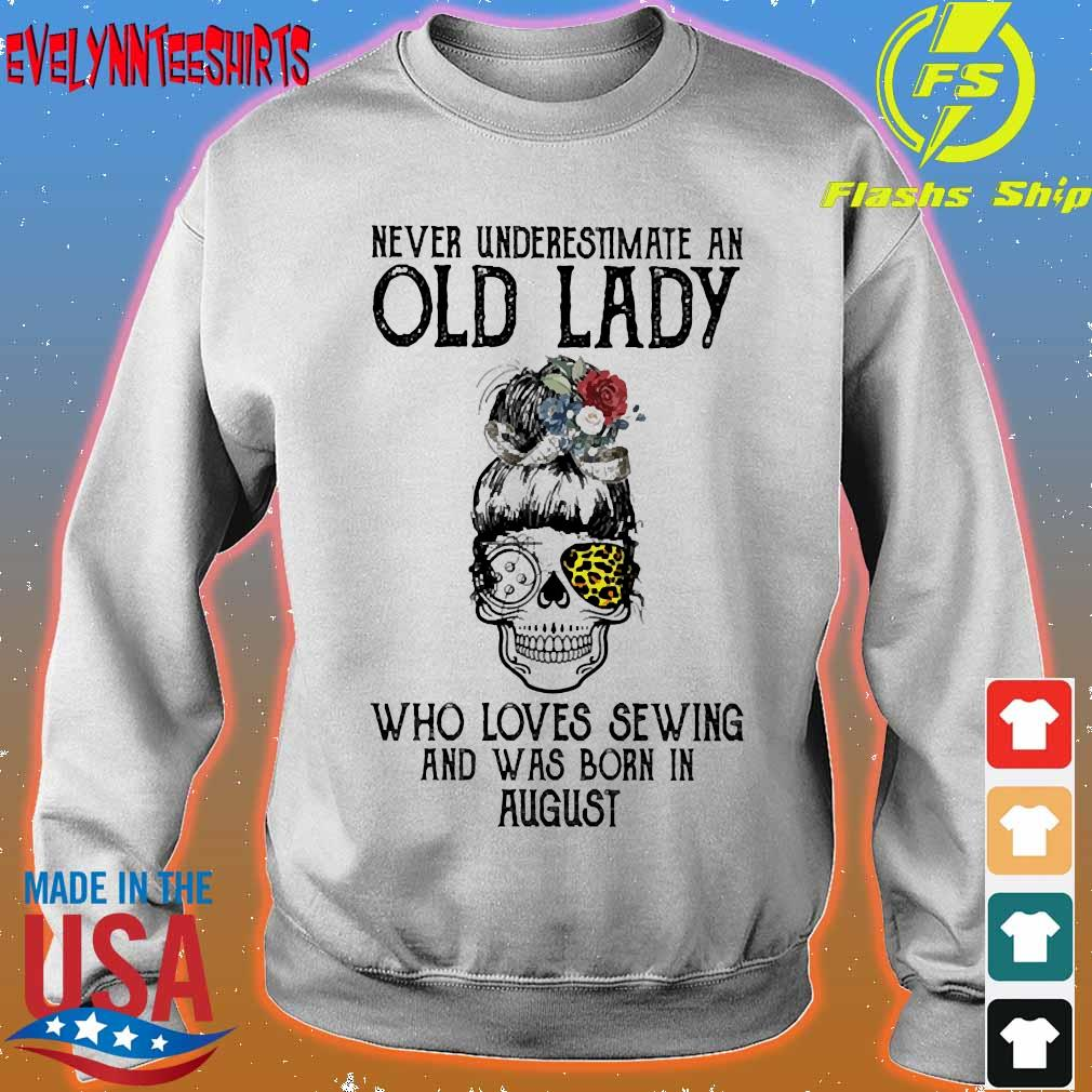 Skill girl leopard Never underestimate an old lady who loves sewing and was born in august s sweater