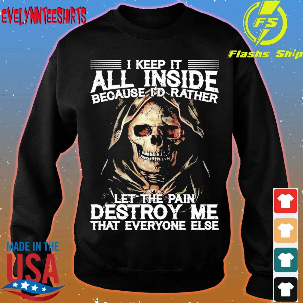 Skeleton I keep it all inside because I'd rather let the pain Destroy Me s sweater