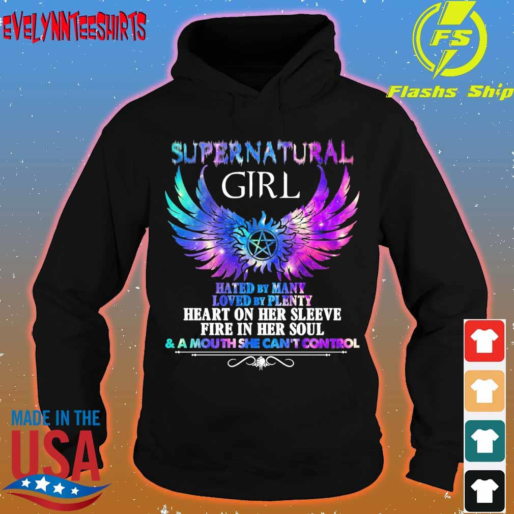 Supernatural Girl hated by many loved by plenty heart on her sleeve fire in her soul s hoodie
