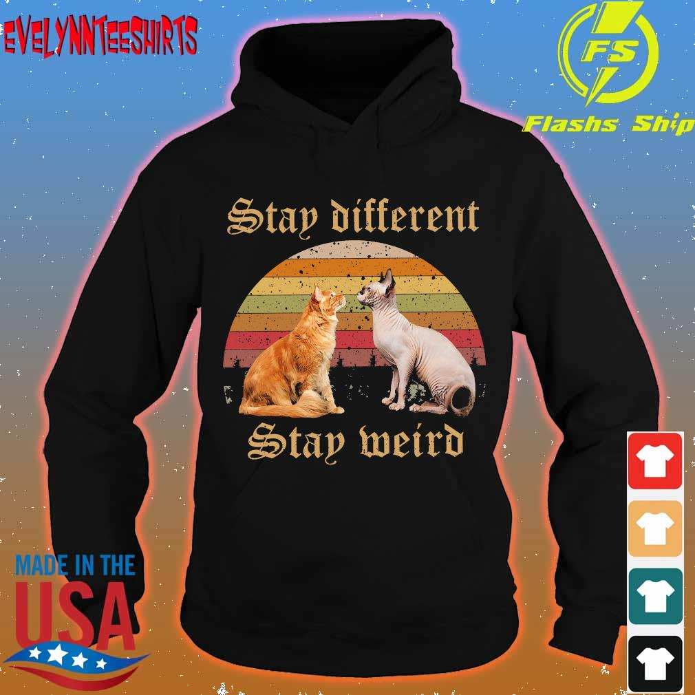Cat Stay different stay weird vintage s hoodie