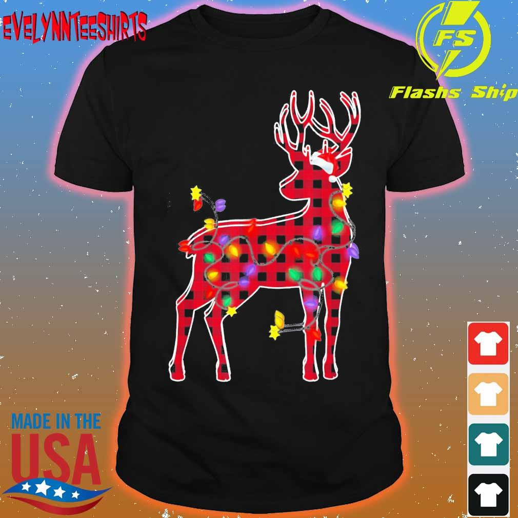 Red Plaid Buffalo Deer Christmas Pajamas Xmas Lights Shirt