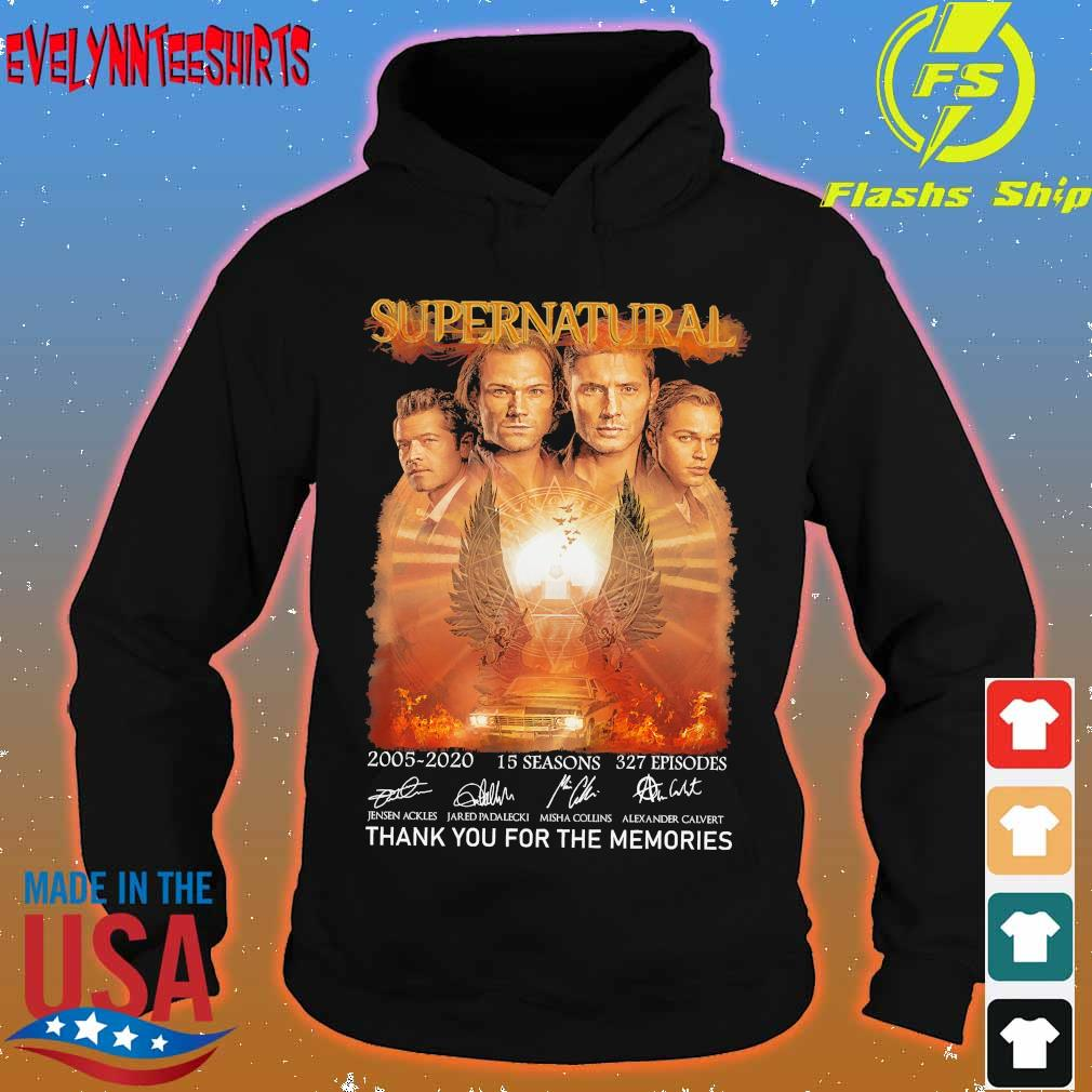 Supernatural 2005 2020 15 seasons 327 episodes thank you for the memories signatures s hoodie